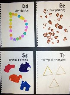 A to Z Alphabet art books. Great pre-k or kindergarten idea! Preschool Journals, Preschool Letters, Learning Letters, Kindergarten Literacy, Preschool Crafts, Early Literacy, Preschool Ideas, Alphabet Crafts, Alphabet Art