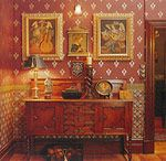 Great wallpaper - same palette as the rest of the house, but a bit brighter for the study.