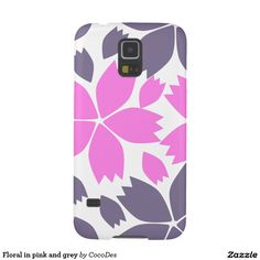 Floral in pink and grey #case for #galaxy #s5 #zazzle