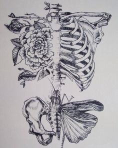 Love the contrast between the pretty flowers and the skeleton