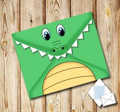Printable envelope with a crocodile on the back and your own text on the front Origami Bookmark Corner, Corner Bookmarks, Envelope Design, Envelope Templates, Crocodile Craft, Diy For Kids, Crafts For Kids, Straw Decorations, Coaster Crafts