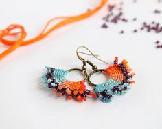 Hoop macrame textile earrings colored blue orange by KnottedWorld, €11.00