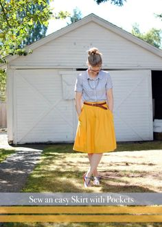 DIY easy skirt with pockets. I love Simplicity patterns.
