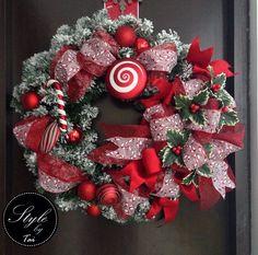 Rosca navideña caramelos , rojo y blanco