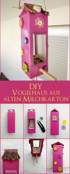Tinker aviary made of milk cartons - Make a feed house with your children- Vogelhaus aus Milchtüten basteln – Mit Kindern ein Futterhaus selbermachen Here I show you how you just a birdhouse … - Upcycled Crafts, Easy Crafts, Diy And Crafts, Easy Diy, Make A Bird Feeder, Bird Feeders, Diy For Kids, Crafts For Kids, Bird Houses