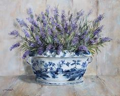 Gorgeous Lavenders in a Blue & White Tureen, original painting by Gail McCormack