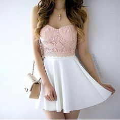 Light Pink Lace Crop Top And White Skirt With Beige Handbag