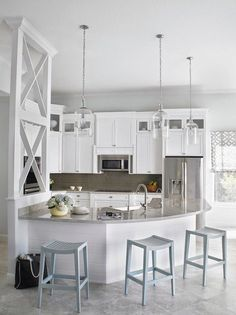 Pendant lights --Favorite Turquoise Design Ideas - Beach House Kitchen. Krista Watterworth Design Studio