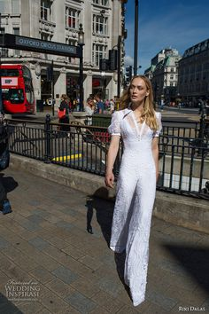 riki dalal fall 2017 bridal short sleeves collar v neck full embellishment sophiscated jumpsuit wedding dress low back (1902) mv