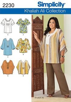2230 Misses' & Plus Size Tunic or Top Misses' & Plus Size Khaliah Ali Collection tunic or top with neckline variations sewing pattern. Tunic Sewing Patterns, Tunic Pattern, Simplicity Sewing Patterns, Top Pattern, Clothing Patterns, Dress Patterns, Sewing Clothes, Diy Clothes, Plus Zise