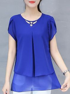 Casual Work Outfits, Work Casual, Blouse Styles, Blouse Designs, Formal Blouses, Short Sleeve Blouse, Short Sleeve Dresses, Neck Designs For Suits, Cheap Blouses