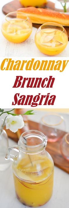 Delicious Sangria for Breakfast or Brunch. Made with Chardonnay, this white wine sangria is perfect for entertaining your friends!