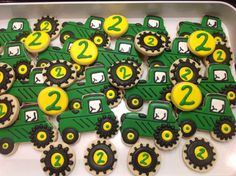 John Deere Tractor Sugar Cookies Decorated Sugar Cookies by I Am the Cookie Lady