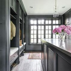 Dark Gray Mudroom Lockers with Cushioned Bench Seats Mudroom Laundry Room, Small Laundry Rooms, Laundry Room Design, Built In Bench, Built Ins, Custom Homes, Storage Benches, New Homes, House Design
