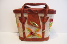 Vintage Mid Century Summer Purse Handbag Tooled Leather Horse Feathers #Unbranded #Box $89.99 includes Free USA and Canada Shipping!