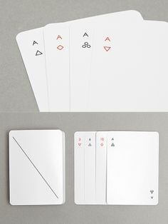 The elegant Iota deck of playing cards features simple geometric symbols of hearts, clubs, and diamonds reduced to a minimum. Design by Joe Doucet. Playing Cards Art, Playing Card Design, Game Card Design, Geometric Symbols, Name Cards, Deck Of Cards, Minimal Design, Graphic Design Inspiration, Book Design