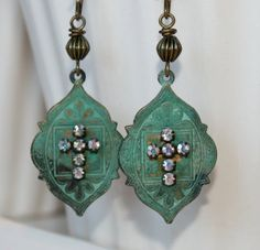 Boho earrings Patina jewelry Rustic by CharmingLifeJewelry on Etsy, $18.00