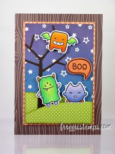 Copic card using the Lawn Fawn - Monster Mash stamp set along with the matching die set. Made by Kelli
