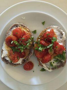 Tomato, basil, chive & goat cheese on walnut, basil sea salt bread from PureBread.