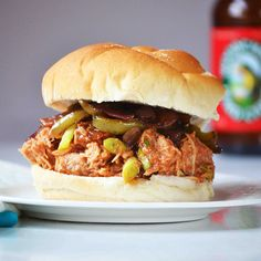 Slow Cooker Woodchuck Hard Cider Pulled BBQ Chicken Sandwiches with Roasted Balsamic Onions and Peppers