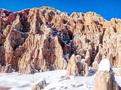 """Pioche, NV but when I see something inspiring on instagram o have to go!! Luckily this gem is only 2.5 hours from home so it makes for an easy day trip. I love the contrast of white snow and red rock. Tell me.... What's a random city you've been to on purpose?"""""""