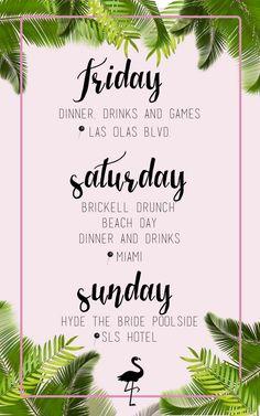 Miami Bachelorette invitations - itinerary Bachelorette Itinerary, Bachelorette Party Planning, Beach Bachelorette, Bachlorette Party, Bachelorette Party Invitations, Floral Wedding Gown, Miami, Bridesmaids, Bridal Squad