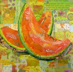 """COOL CANTALOUPE Original Paper Collage Melon Fruit Painting 6 X 6"""" on Gallery wrapped canvas Painted Paper, Hand Painted, Acrylic Gel Medium, Paper Collage Art, Fruit Painting, Butterfly Painting, Photo Canvas, Wrapped Canvas, Really Cool Stuff"""