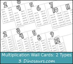 Free Multiplication Wall Cards: 2 Types with answer and fill in answer - 3Dinosaurs.com