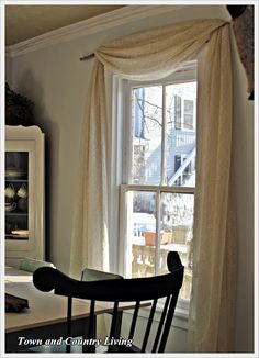 Sewing Curtains Town and Country Living: One Dollar No-Sew Curtains No Sew Curtains, Rod Pocket Curtains, Window Coverings, Window Treatments, Town And Country, Country Living, Diy Home Decor, Room Decor, Country Curtains