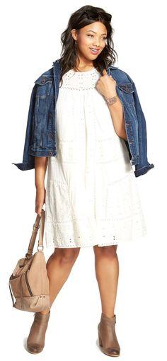 Plus Size Eyelet Embroidered Shift Dress