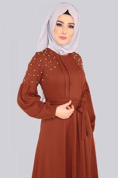 Prenses Kol İncili Elbise MDB3891 Kiremit