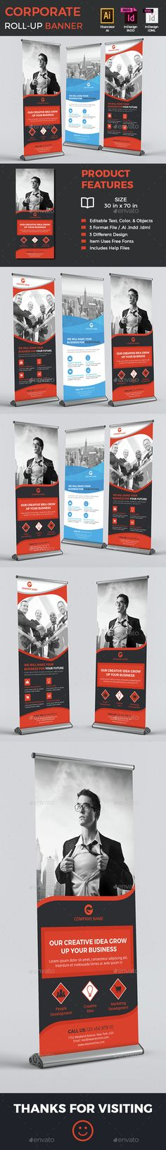Corporate Rollup Banners — InDesign INDD #ad #banner template • Available here → https://graphicriver.net/item/corporate-rollup-banners/14843755?ref=pxcr