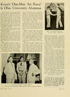 """The Ohio Alumnus, October 1950. """"Korea's 'One-Man Air Force' Is Ohio University Alumnus."""" """"Ohio University alumni undoubtedly are aware of the exploits of Major Dean Hess, referred to variously as 'the flying fool', the 'one-man air force', and the 'fighting preacher' of the Korean conflict."""" The 1957 movie """"Battle Hymn"""" is based on Major Hess's life, who is played by Rock Hudson. :: Ohio University Archives"""