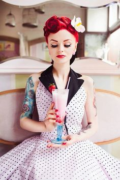Bright red retro/vintage/pinup hair style