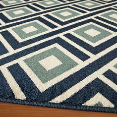 Indoor/ Outdoor Blue Blocks Rug (7'10 x 10'10) | Overstock.com Shopping - The Best Deals on 7x9 - 10x14 Rugs