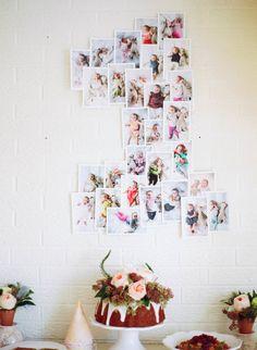 DIY idea for first birthday decorations for your baby girl's party! First year of infant pictures in the shape of a 1 Bunny Birthday, Baby Girl First Birthday, First Birthday Parties, Birthday Party Themes, Birthday Ideas, First Birthday Photos, Diy 1st Birthday Decorations, Diy Party Decorations, Juegos Baby Shower Niño