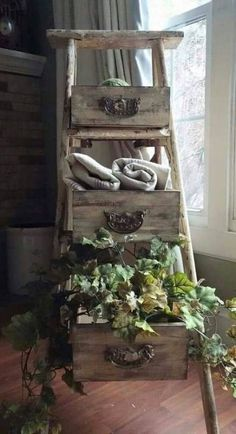 Turn an Old Ladder & Old Drawers into Shelves.these are the BEST Upcycled & Repurposed ideas! Recycled Decor, Repurposed Furniture, Shabby Chic Furniture, Diy Furniture, Antique Furniture, Furniture Stores, Garden Furniture, Rustic Furniture, Old Ladder Decor