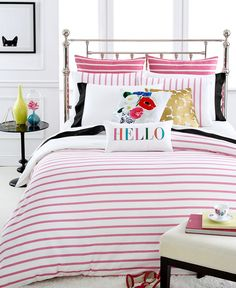 kate spade new york Harbour Stripe Shocking Pink Twin Duvet Cover Set
