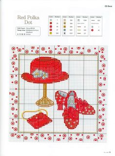 red polka dot hat shoes purse cross stitch