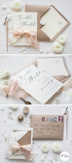 Calligraphy wedding invitation in Ecru & Eco color scheme. Handmade with eco kraft papers with addition of dyed silk ribbon. Fully assembled. With romantic rustic touch! #weddingideas