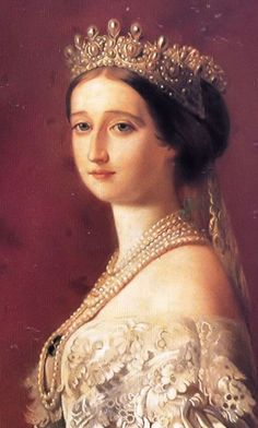 Portrait of Empress Eugenie wearing the Grand Pearl Diadem of the French Napoleonic Crown Jewels. Eugénie's tiara was created by the Crown Jeweller, Lemonnier, using the Napoleonic pearls Royal Crowns, Royal Tiaras, Crown Royal, Tiaras And Crowns, Franz Xaver Winterhalter, Diamond Tiara, Napoleon Iii, Royal Jewelry, Kaiser