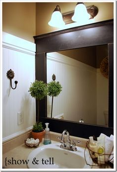 Upgrade your standard builders mirror with this DIY framing project. Via www.sweetpickinsfurniture.com