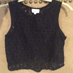Cute lace tank top Button down back with cool bottom Tops Tank Tops