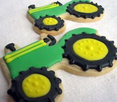 24 tractor cookie favors cookies to ship June 7 ***Please take a moment to read my shop policies. Tractor Cookies, Farm Cookies, Cut Out Cookies, Cute Cookies, Cupcake Cookies, Sugar Cookies, Cupcakes, Cookie Party Favors, Farm Cake