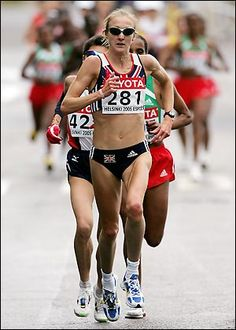 Paula Radcliffe, fastest female marathoner in history, by a mile.