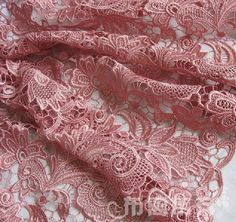"""Elegant Bridal Fabric Venise Embroidered Wedding Gown Lace FABRIC in Antique Pink 35"""" wide Half Yard"""