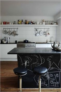 chalkboard island. We painted our fridge with chalkboard paint - it's a great idea.