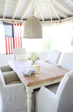 decorating with red, WHITE and blue!