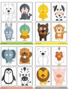 2 pieces animals puzzle & memory game by Mr-pencil Motor Skills Activities, Preschool Learning Activities, Preschool Activities, Kids Learning, Body Preschool, Free Preschool, Preschool Crafts, Puppets For Kids, Puzzles For Kids