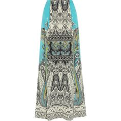 Etro - Printed Silk Crepe De Chine Maxi Skirt (7.735.615 IDR) ❤ liked on Polyvore featuring skirts, turquoise, bohemian maxi skirt, long silk skirt, patterned maxi skirt, bohemian long skirts and boho skirts
